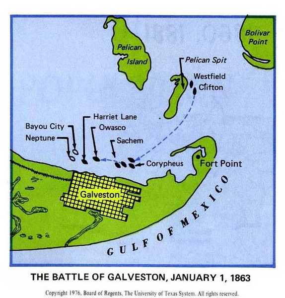 The Battle of Galveston Historical Map