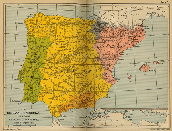 The Iberian Peninsula Historical Map