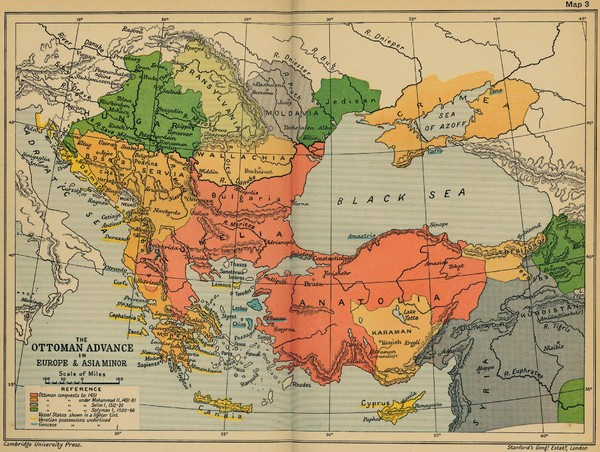 The Ottoman Advance of Europe and Asia Minor Map
