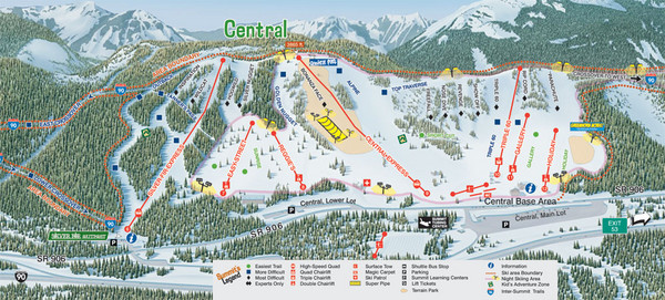The Summit at Snoqualmie Summit Central Ski Trail Map