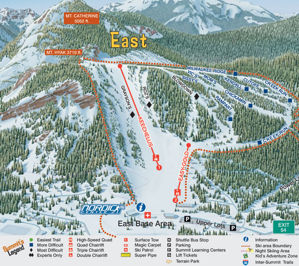 The Summit at Snoqualmie Summit East Ski Trail Map