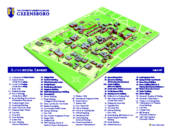 The University of North Carolina Greensboro Map Greensboro North