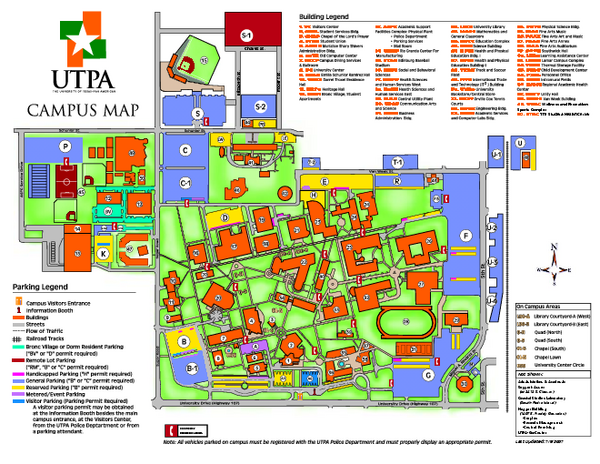 The University Of Texas Pan American Campus Map Edinburg Texas