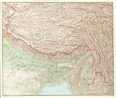 Tibet Region Physical Map