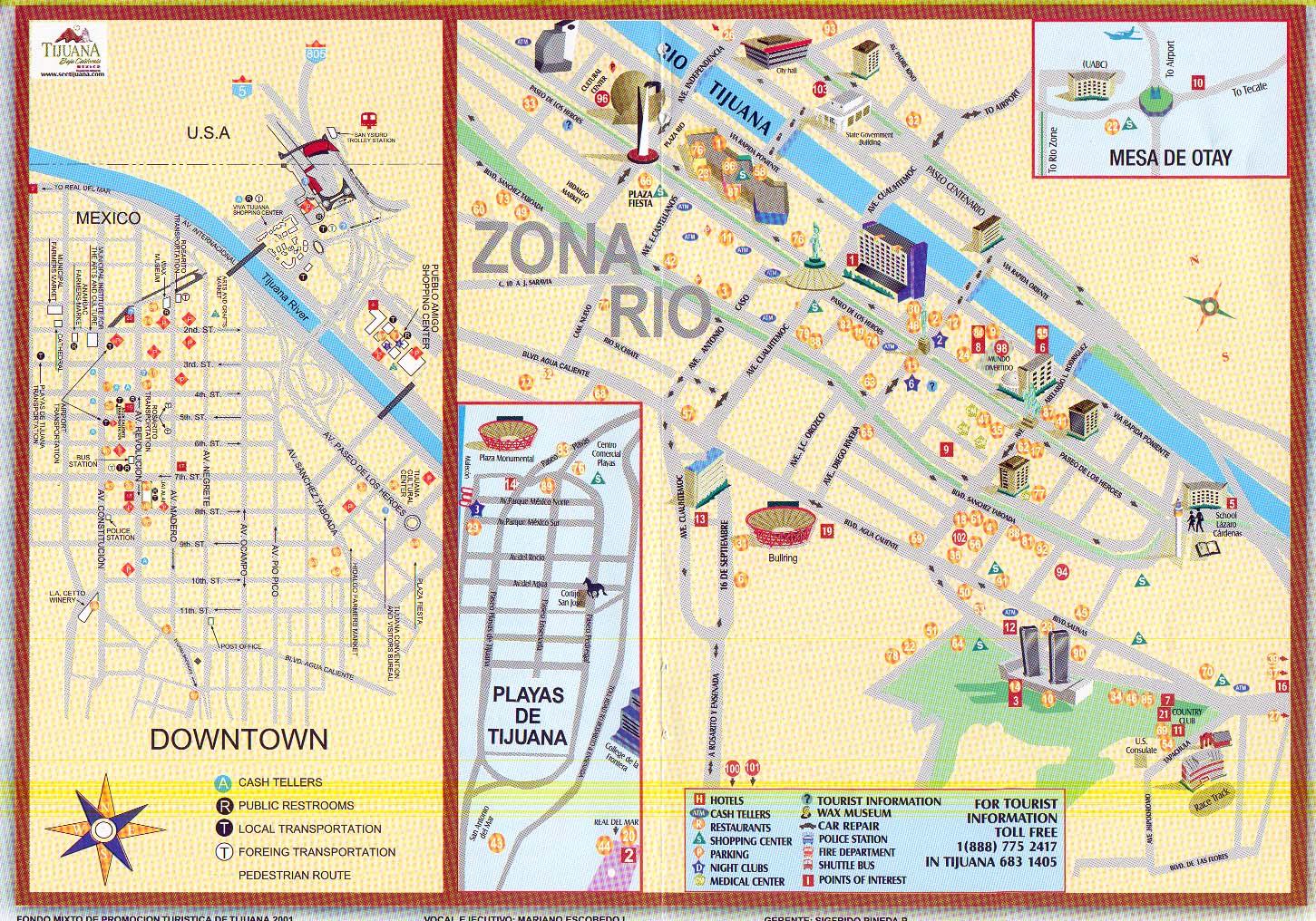 Tijuana tourist map tijuana mexico mappery sciox Images