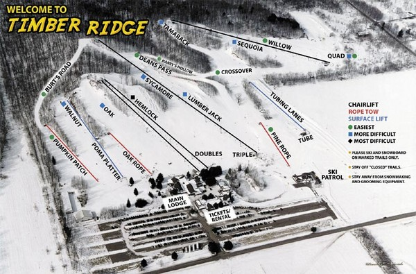 Timber Ridge Ski Area Ski Trail Map