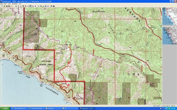 Timber Top Big Sur Map • mappery