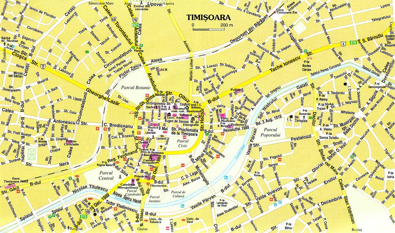 Timisoara Tourist Map Timioara Romania mappery