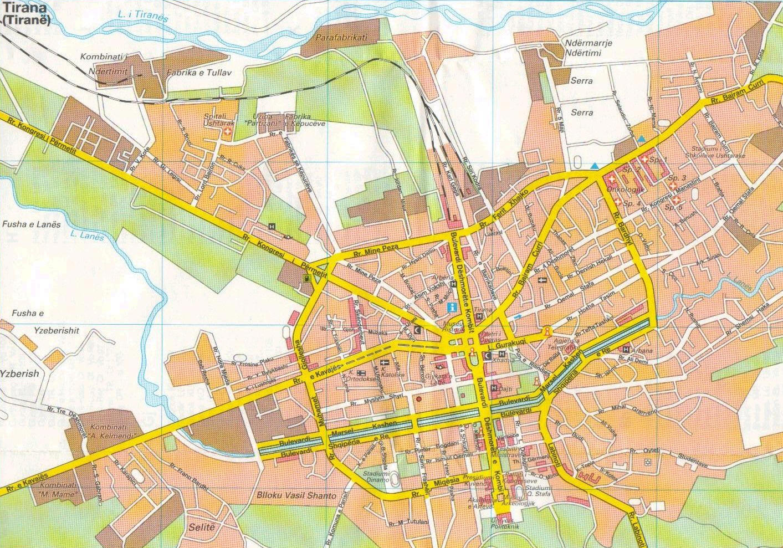 Tirane City Tourist Map - Tirane • mappery