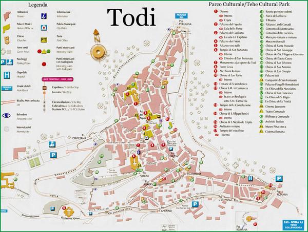 Todi Umbria Tourist Map Todi Umbria mappery