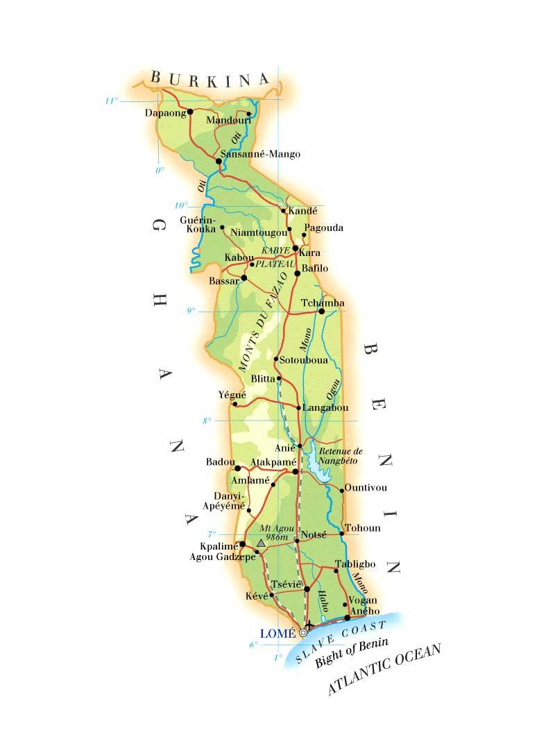 Togo Major Roads Map mappery