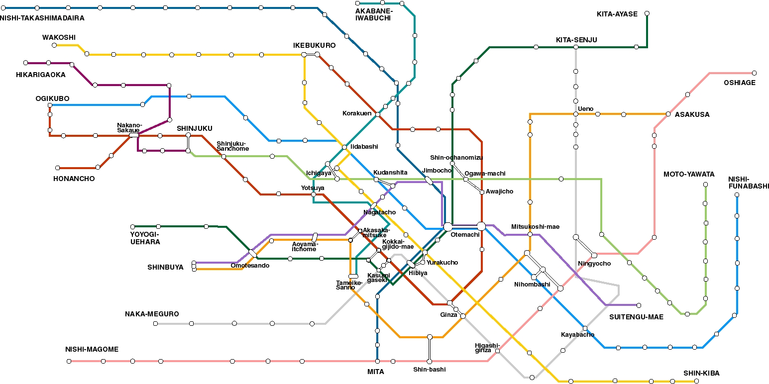 Aoyama Itchome On Subway Map.Tokyo Metro Map Tokyo Mappery