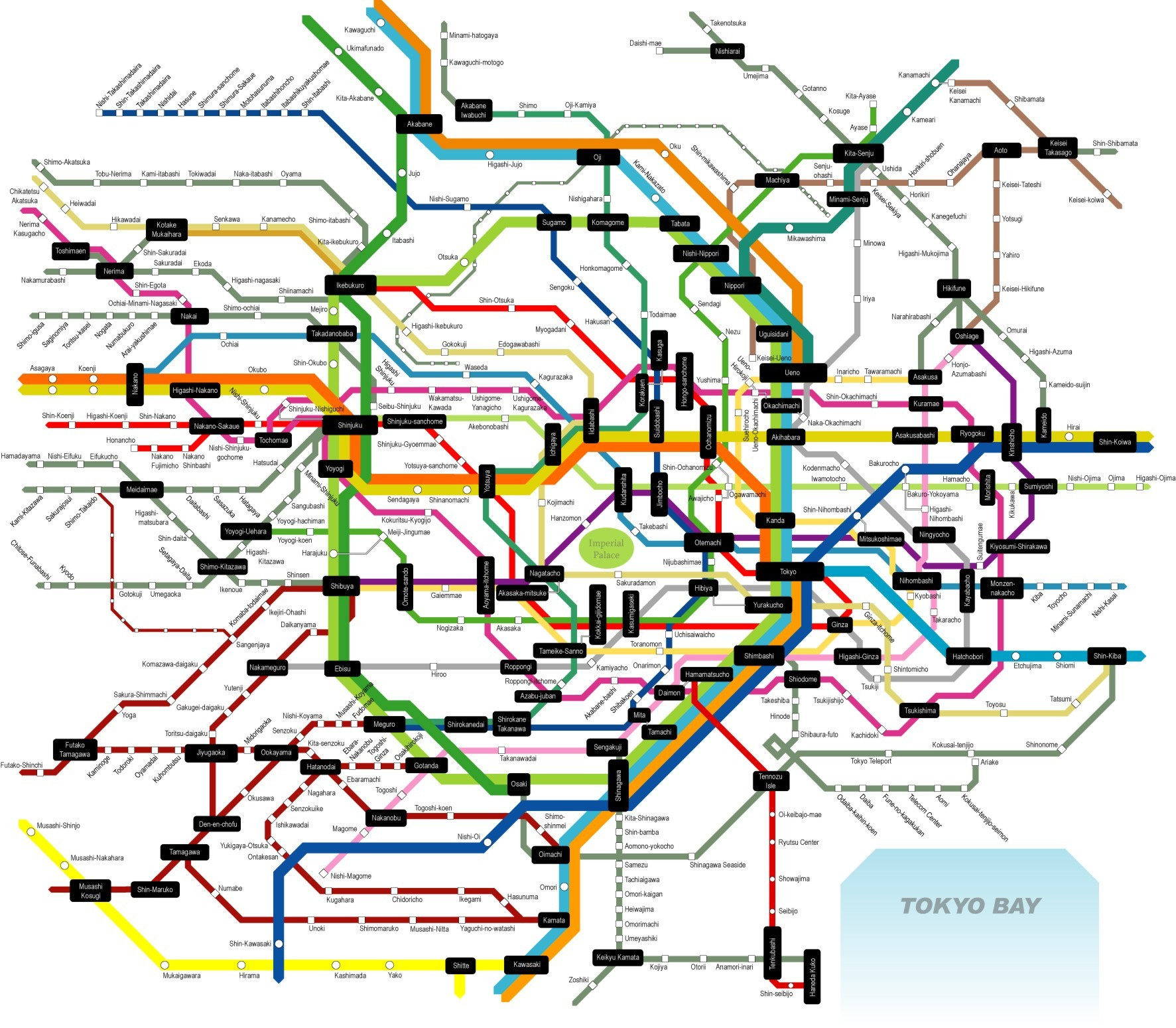 Tokyo Subway Map Tokyo Japan mappery – Tourist Map of Tokyo
