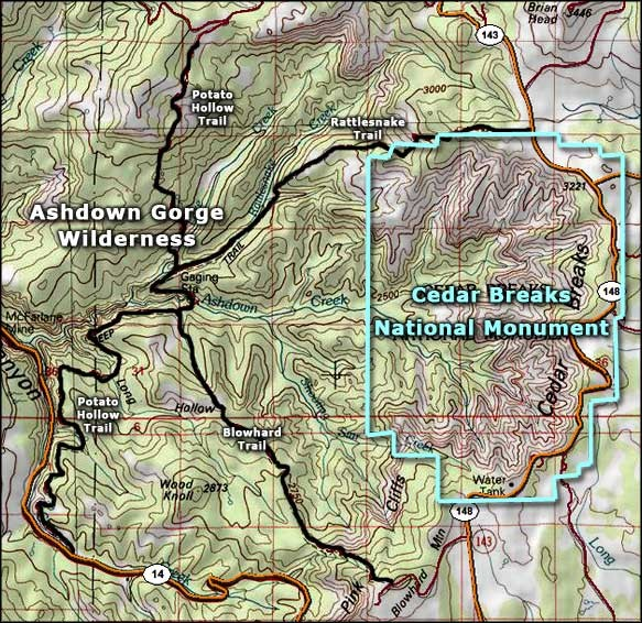 Topo Map of Ashdown Gorge Wilderness, including Cedar Breaks Nat. Monument.