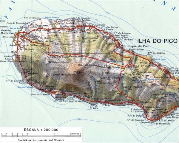Topo map of Pico - Pico Azores • mappery Topo Map Of Guernsey on