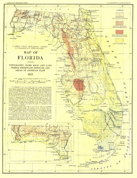 Topographic map of Florida that was developed in 1913
