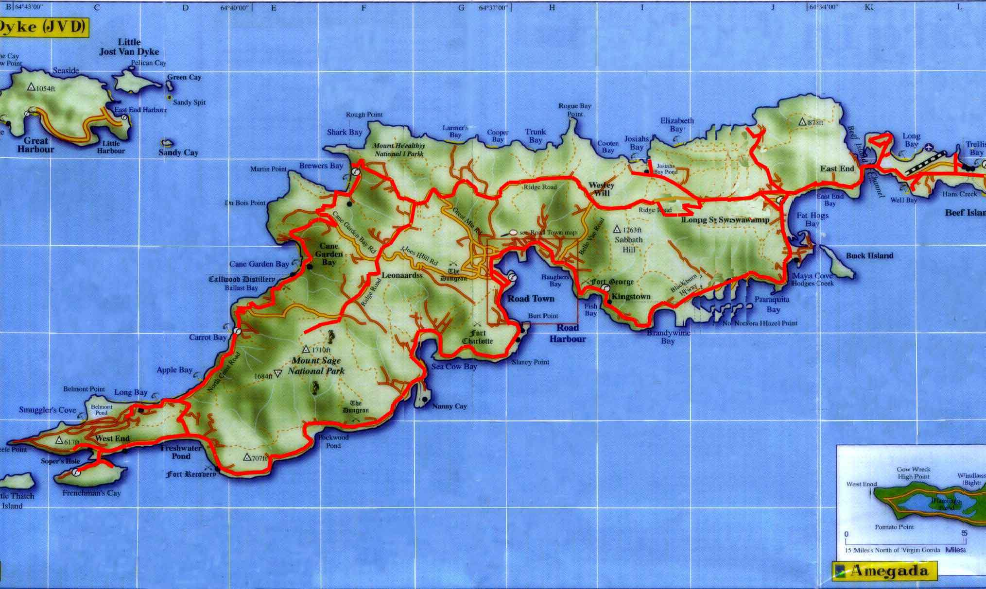 tortola island map tortola island british virgin islands mappery
