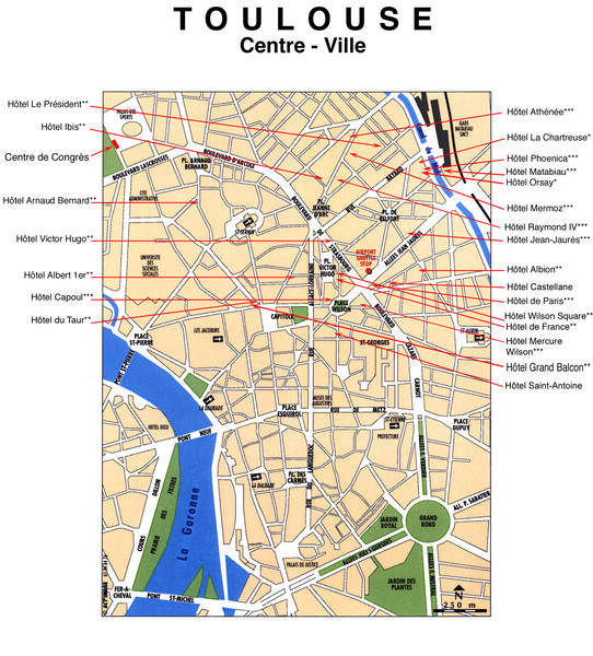 Toulouse Hotel Map