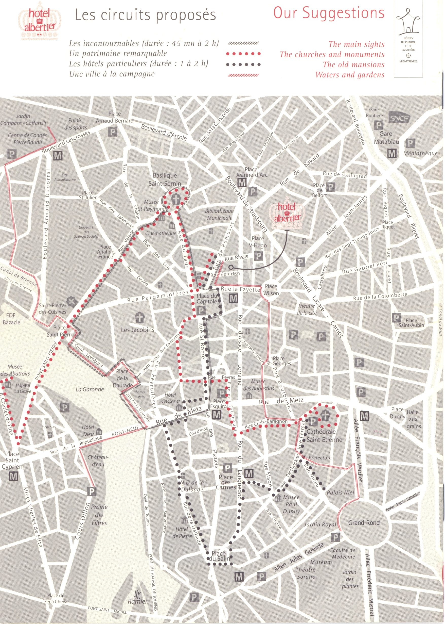 Toulouse walking tours Map Toulouse France mappery
