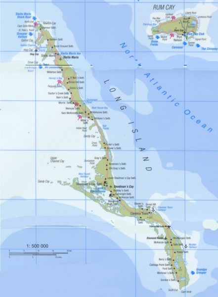 Tourist map of Long Island and Rum Cay in the Bahamas.