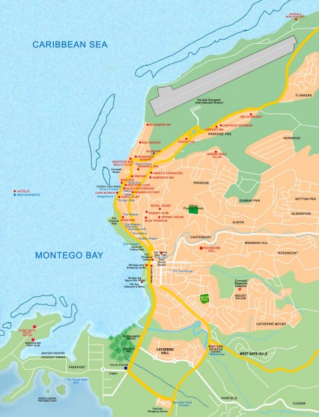 Tourist map of Montego Bay montego bay jamaica mappery