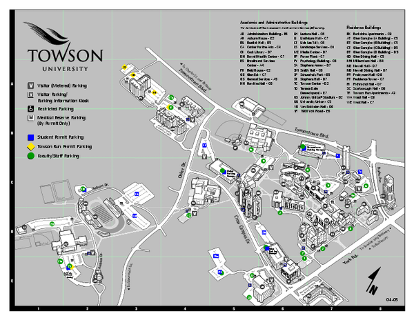 Towson University Map Towson Maryland Mappery