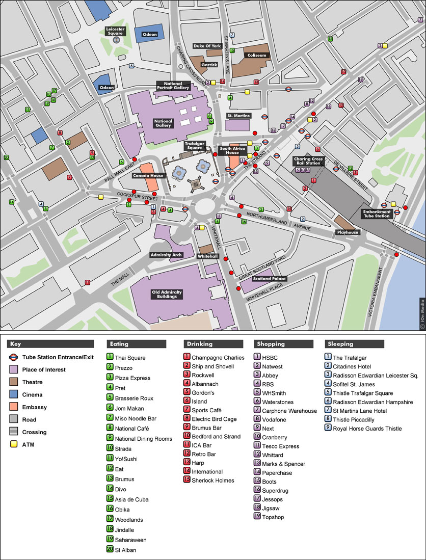Trafalgar Square Map   Trafalgar Square London • mappery