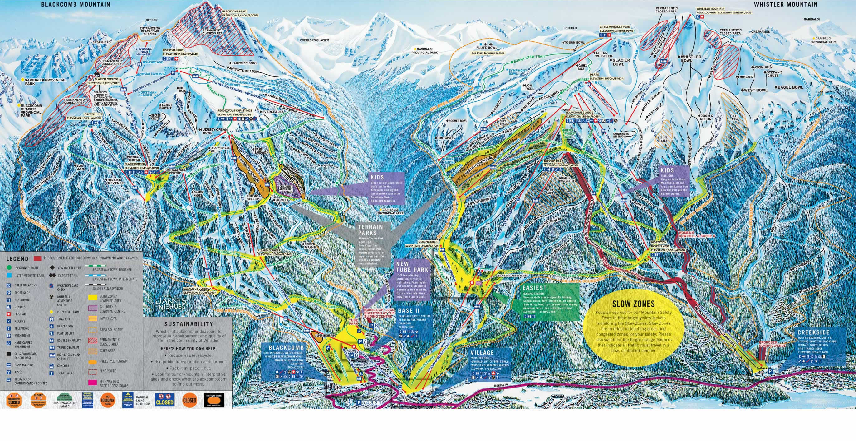 Trail Map Whistler Blackcomb Whistler Canada Mappery
