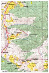 Trail from Sisina to Kunzangdechen monastery Map