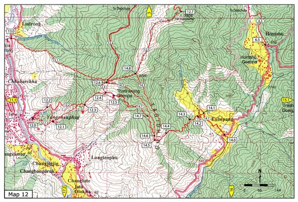 Trail from Yangchenphug HS to Thadranang and Oselpang Map