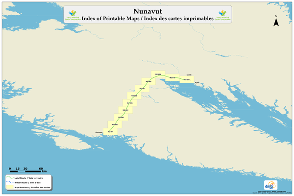 Trans Canada Trail - Nunavut : Index of Printable Maps / Index des cartes imprimables Map