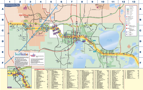 Travel Accommodations in Kissimmee Florida Map Kissimmee FL – Florida Travel Map
