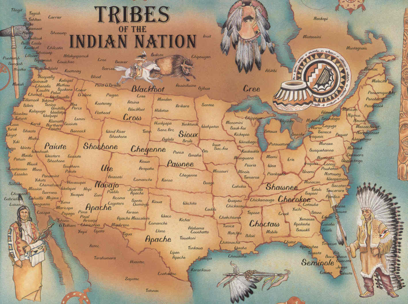Tribes of the Indian Nation Map See map details From www.aaanativearts ...