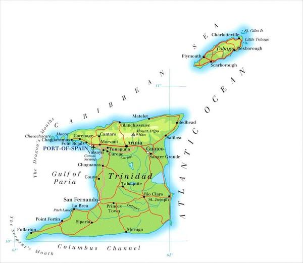 trinidad and tobago maps mappery