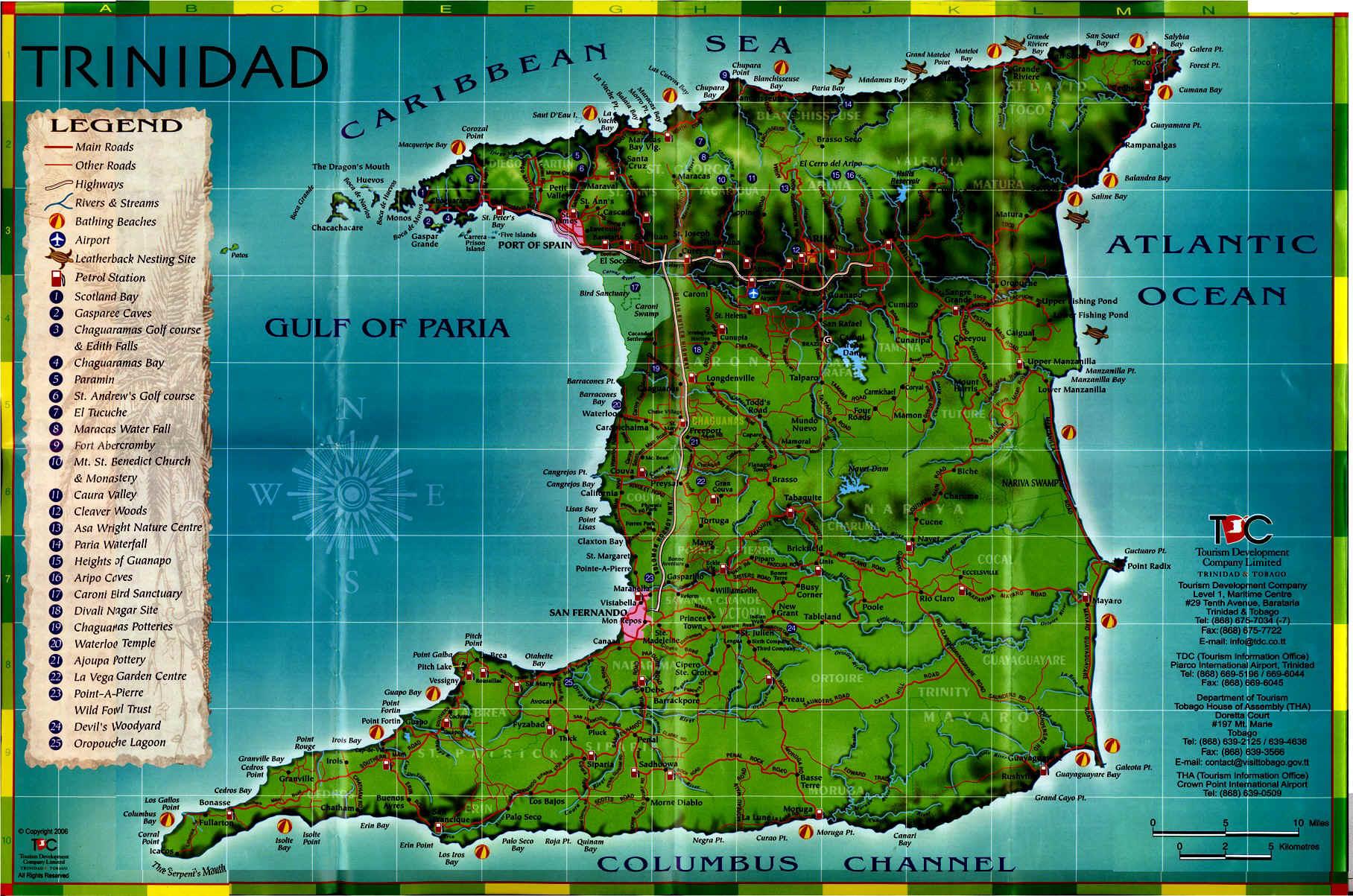 Trinidad Tourist Map Trinidad Tobago Mappery - Trinidad map
