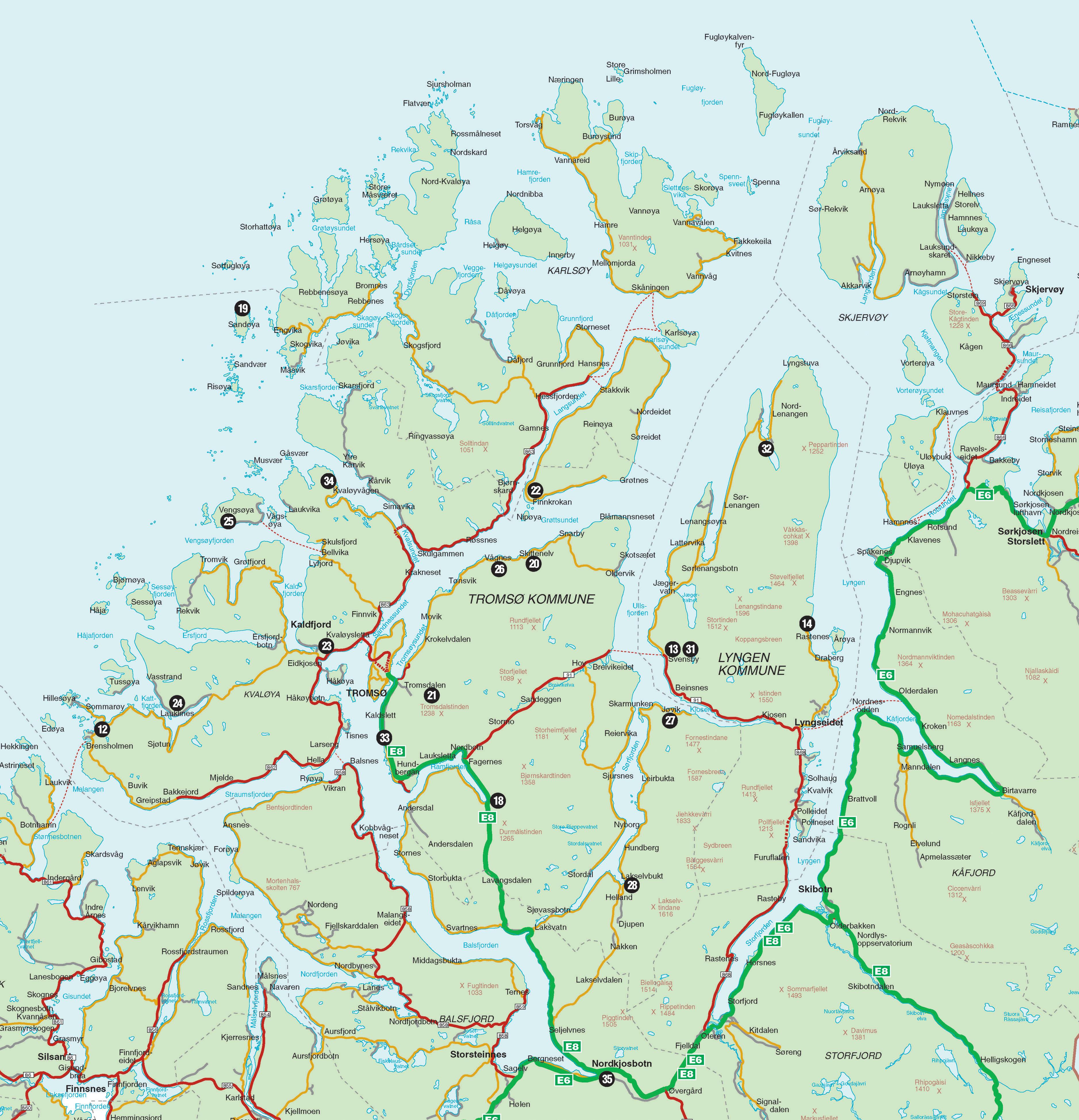Tromso Lyngen Region Overview Map Tromso Norway Mappery - Norway map tromso
