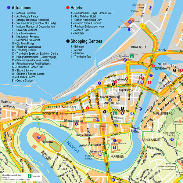 Trondheim Tourist Map Trondheim Norway mappery – Norway Tourist Attractions Map