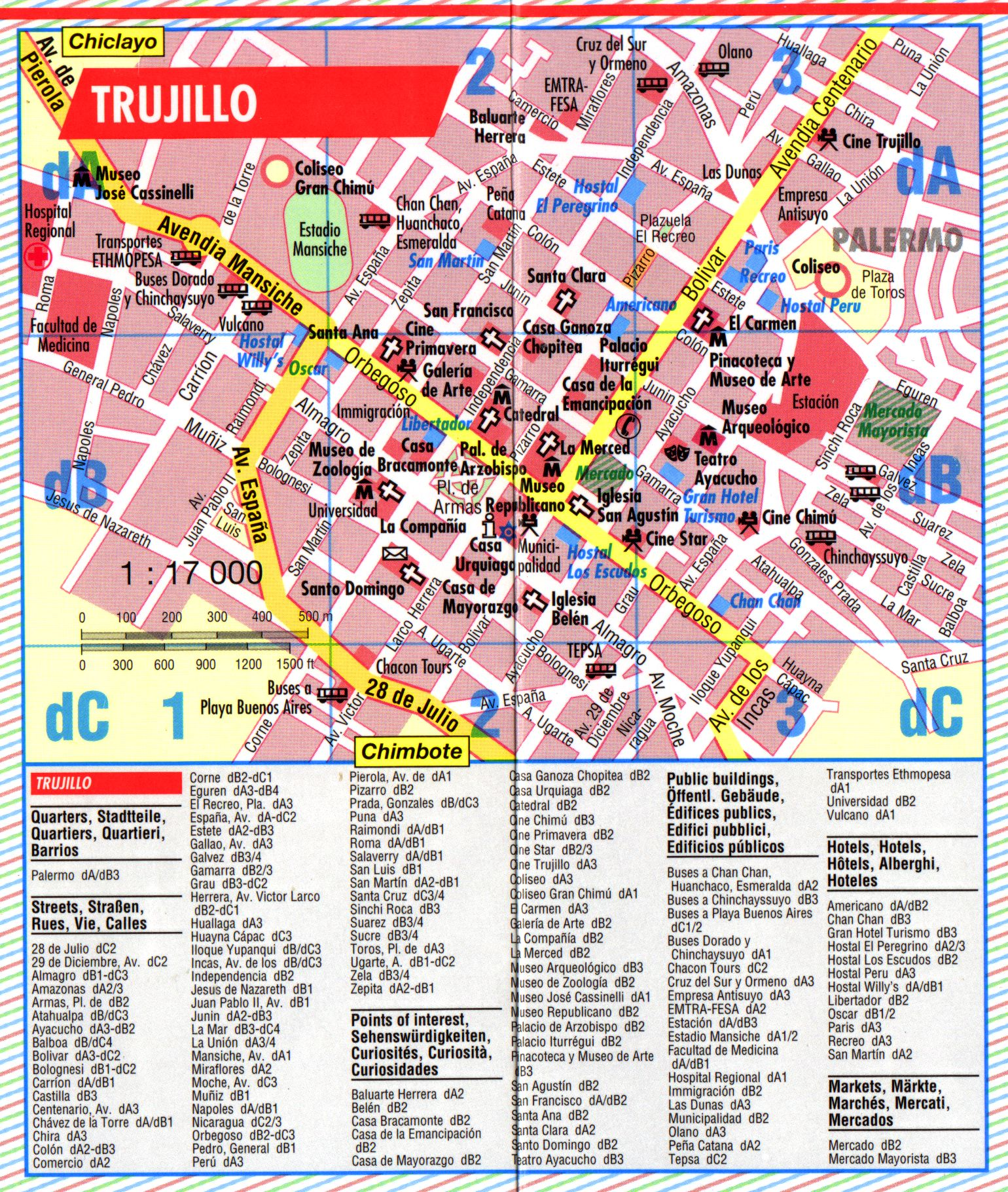 Trujillo Tourist Map Trujillo Peru mappery