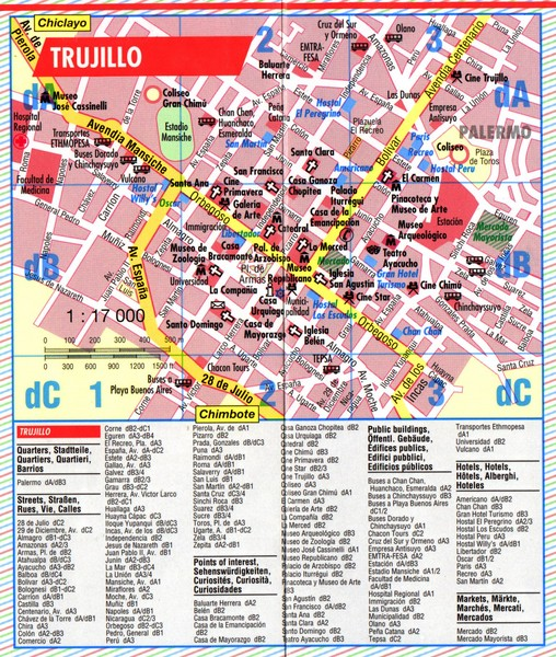Trujillo Tourist Map Trujillo Peru mappery – Tourist Map Of Peru
