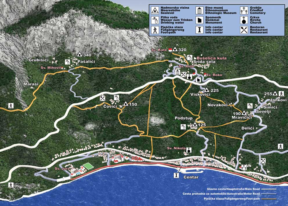 Tucepi Croatia Map Tucepi Tourist Map Tucepi