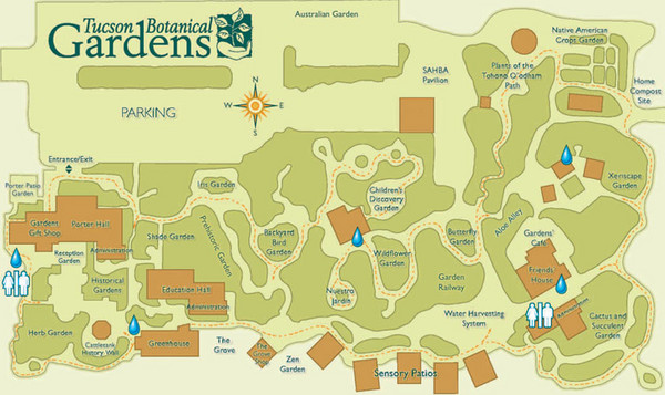 Tucson Botanical Gardens Map