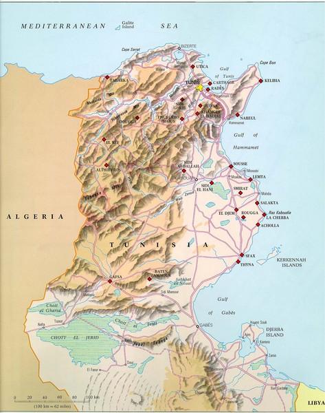 Physical relief map of Tunisia. From vanderbilt.edu