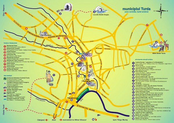 Turda Tourist Map Turda Romania Mappery