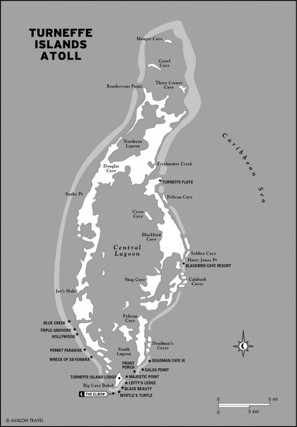 Turneffe Islands atoll Map