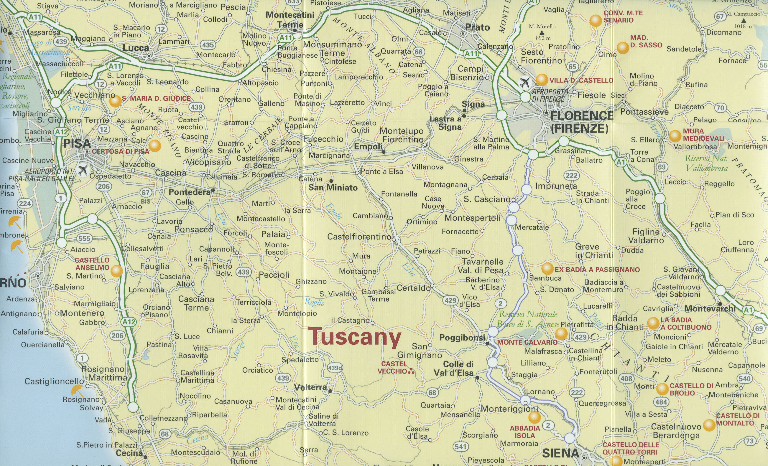 Map Of Tuscany Towns Italy