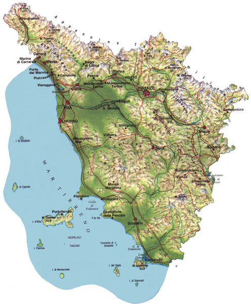 Tuscany Physical Map