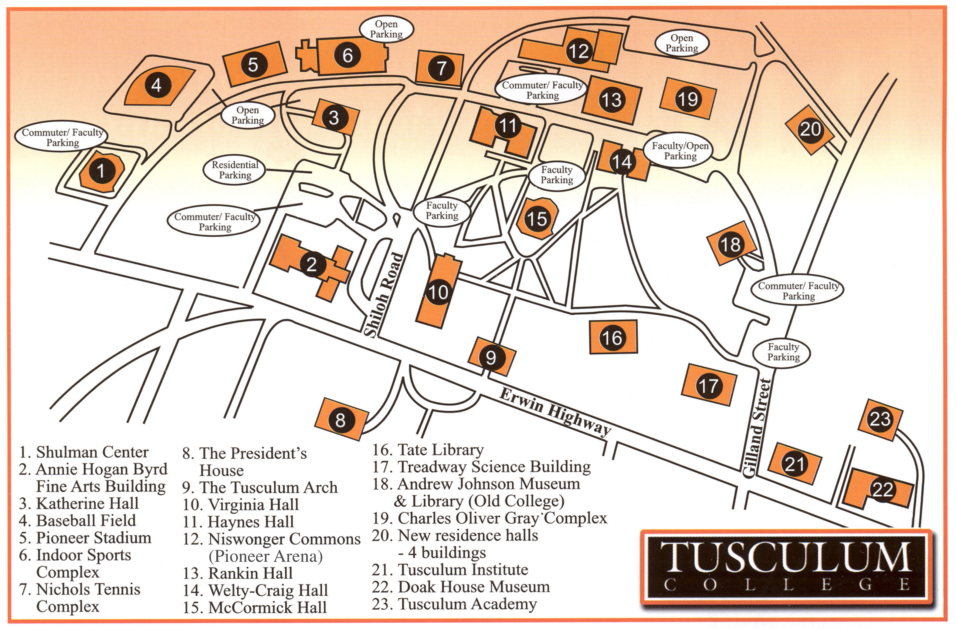 Cumberland County College Campus Map.Tusculum College Campus Map 60 Shiloh Rd Greeneville Tn 37743