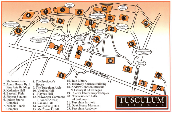 Tusculum College Campus Map