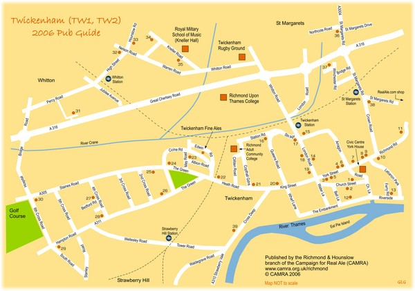 Twickenham Pub Guide Map