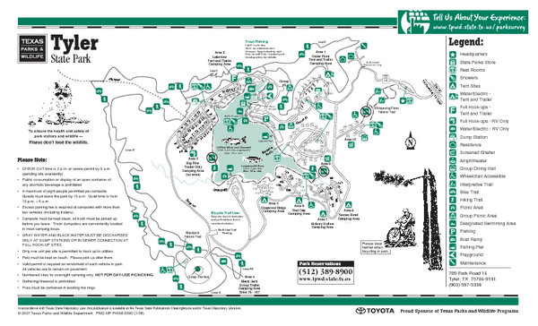 Tyler Texas State Park Facility and Trail Map Tyler Texas • mappery